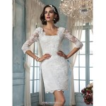 Sheath/Column Wedding Dress - Ivory Short/Mini Square Lace Wedding Dresses