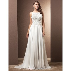 Sheath Column Plus Sizes Wedding Dress Ivory Sweep Brush Train Straps Chiffon