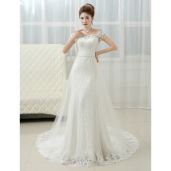 Sheath Column Wedding Dress Court Train Off The Shoulder Lace