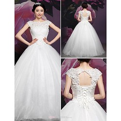 Ball Gown Wedding Dress White Sweep Brush Train Court Train Floor Length Bateau High Neck Silk