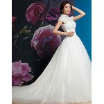 Ball Gown Wedding Dress - White Sweep/Brush Train/Court Train/Floor-length Bateau/High Neck Silk Wedding Dresses