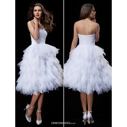 Ball Gown Wedding Dress - White Knee-length Sweetheart Tulle