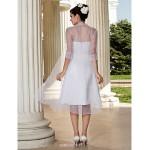 A-line/Princess Plus Sizes Wedding Dress - White Knee-length Strapless Organza Wedding Dresses