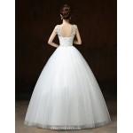 Ball Gown Wedding Dress - White Floor-length V-neck Lace / Satin / Tulle Wedding Dresses