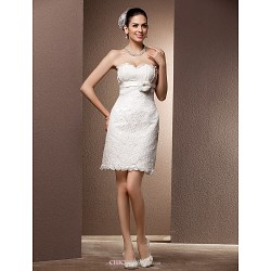 Sheath/Column Plus Sizes Wedding Dress - Ivory Short/Mini Sweetheart Lace