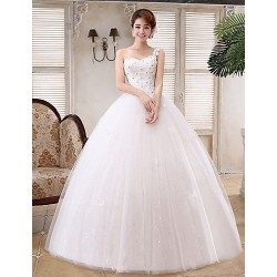 Ball Gown Wedding Dress White Floor Length One Shoulder Satin Tulle