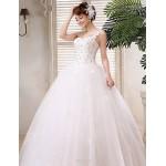 Ball Gown Wedding Dress - White Floor-length One Shoulder Satin / Tulle Wedding Dresses