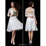 A-line Wedding Dress - Ivory Knee-length Off-the-shoulder Lace Wedding Dresses