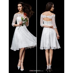 A Line Wedding Dress Ivory Knee Length Off The Shoulder Lace