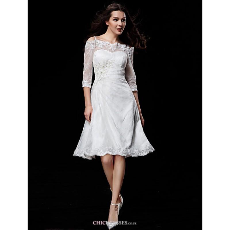 A line wedding dress ivory knee length off the shoulder for Lace mid length wedding dresses