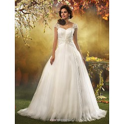 A Line Princess Plus Sizes Wedding Dress Ivory Sweep Brush Train Queen Anne Tulle