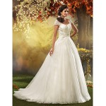 A-line/Princess Plus Sizes Wedding Dress - Ivory Sweep/Brush Train Queen Anne Tulle Wedding Dresses