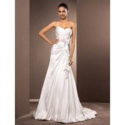 A Line Princess Plus Sizes Wedding Dress Ivory Court Train Sweetheart Satin Chiffon