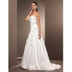 A-line/Princess Plus Sizes Wedding Dress - Ivory Court Train Sweetheart Satin Chiffon Wedding Dresses