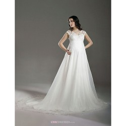 A Line Princess Maternity Wedding Dress Ivory Court Train V Neck Lace Organza
