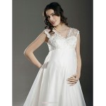 A-line/Princess Maternity Wedding Dress - Ivory Court Train V-neck Lace/Organza Wedding Dresses