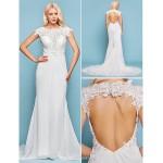 Trumpet/Mermaid Plus Sizes Wedding Dress - Ivory Court Train Jewel Chiffon Wedding Dresses