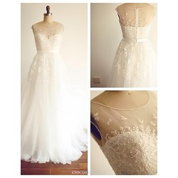 A Line Wedding Dress Ivory Sweep Brush Train Scoop Lace Tulle