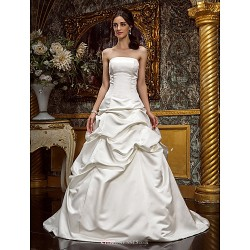 A Line Princess Plus Sizes Wedding Dress Ivory Sweep Brush Train Strapless Satin