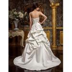 A-line/Princess Plus Sizes Wedding Dress - Ivory Sweep/Brush Train Strapless Satin Wedding Dresses