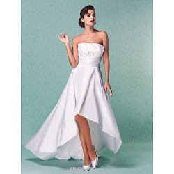 A Line Princess Plus Sizes Wedding Dress Ivory Asymmetrical Strapless Taffeta