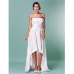 A-line/Princess Plus Sizes Wedding Dress - Ivory Asymmetrical Strapless Taffeta Wedding Dresses