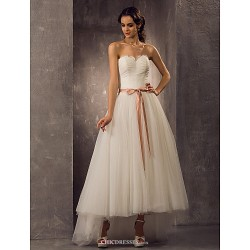 A Line Princess Plus Sizes Wedding Dress Ivory Asymmetrical Sweetheart Tulle