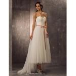 A-line/Princess Plus Sizes Wedding Dress - Ivory Asymmetrical Sweetheart Tulle Wedding Dresses