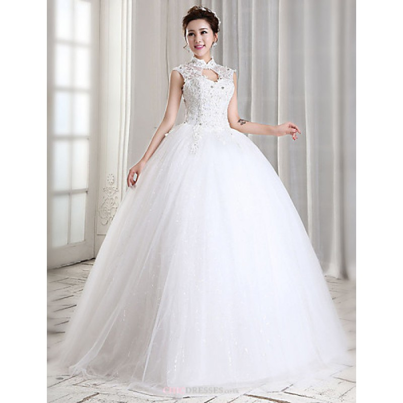 Ball Gown Wedding Dresses Uk: Ball Gown Floor-length Wedding Dress -High Neck Tulle