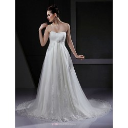 A Line Princess Maternity Wedding Dress Ivory Court Train Sweetheart Tulle
