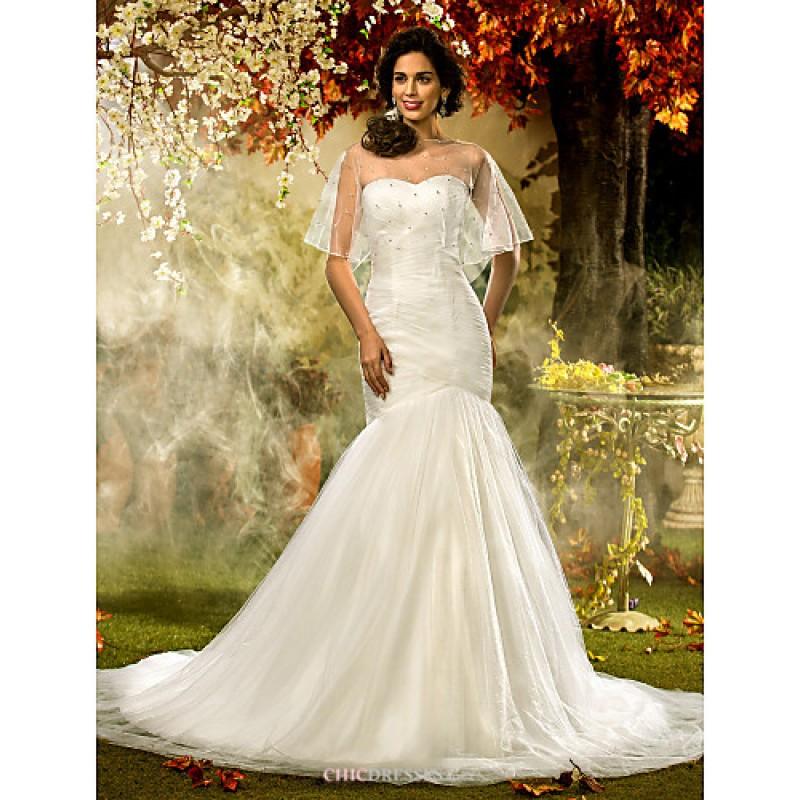 Fit flare plus sizes wedding dress ivory court train for Fitted wedding dresses for plus size