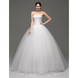 Princess Sweep Brush Train Wedding Dress Strapless Tulle