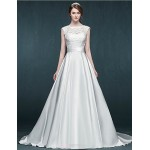 A-line Wedding Dress - Ivory Court Train Jewel Satin Wedding Dresses