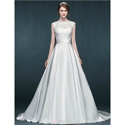 A Line Wedding Dress Ivory Court Train Jewel Satin