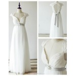 A-line Wedding Dress - Ivory Floor-length Queen Anne Lace / Tulle Wedding Dresses