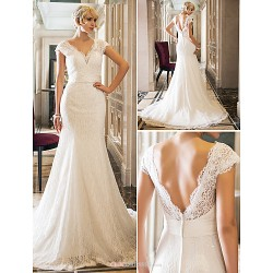 Trumpet Mermaid Wedding Dress Ivory Court Train Queen Anne Lace Stretch Satin