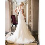 Trumpet/Mermaid Wedding Dress - Ivory Court Train Queen Anne Lace/Stretch Satin Wedding Dresses