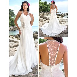 Sheath Column Plus Sizes Wedding Dress Ivory Chapel Train V Neck Chiffon