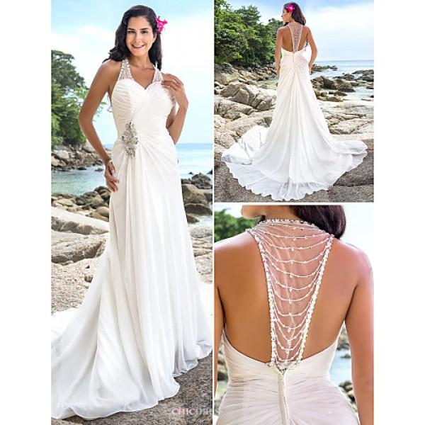 Sheath/Column Plus Sizes Wedding Dress - Ivory Chapel Train V-neck Chiffon Wedding Dresses