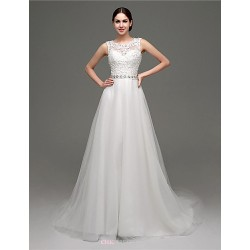 A Line Wedding Dress White Court Train Scoop Tulle