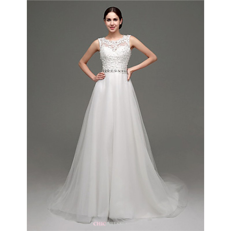 White Court Train Scoop Tulle,Cheap