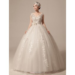 Ball Gown Wedding Dress Ivory Floor Length V Neck Tulle