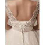 Ball Gown Wedding Dress - Ivory Floor-length V-neck Tulle Wedding Dresses