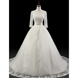Ball Gown Wedding Dress - White Chapel Train Jewel Organza