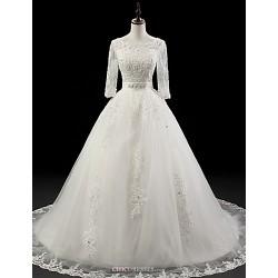 Ball Gown Wedding Dress White Chapel Train Jewel Organza