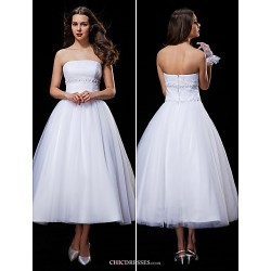 Ball Gown Wedding Dress White Tea Length Strapless Tulle