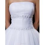 Ball Gown Wedding Dress - White Tea-length Strapless Tulle Wedding Dresses