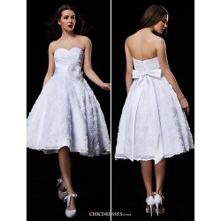 Ball Gown Wedding Dress White Knee Length Sweetheart Lace Taffeta