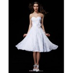 Ball Gown Wedding Dress - White Knee-length Sweetheart Lace/Taffeta Wedding Dresses