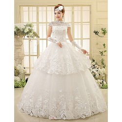 Ball Gown Wedding Dress Floor Length High Neck Lace
